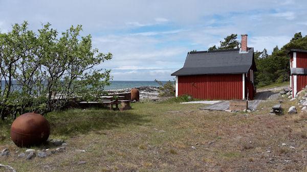 Byggnader på södra delen av ön.